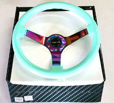 "NRG Steering Wheel Minty Fresh Wood Grain 350mm & Neochrome Spoke 3"" Deep Dish"
