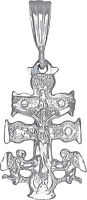 Sterling Silver Caravaca Cross Pendant Necklace Diamond Cut Finish with Chain