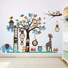 Wandtattoo Wandsticker Aufkleber Blau Junge Baby Affe Eule Baum Elefant Giraffe