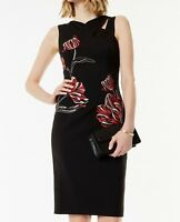 Karen Millen DC158 Black/Multi Embroidered Midi Cocktail Evening Dress UK 6To16