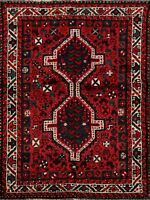 4'x5' Geometric Abadeh Nomad Hand-Knotted Area Rug Traditional Oriental Carpet