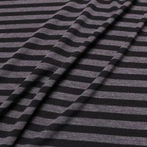 "Viscose Jersey fabric - Stripe - Black, grey - Dress fabric - 60"" wide"