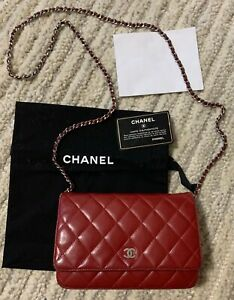 Chanel Classic Lambskin WOC Wallet on Chain Red (Dark) Silver HW Quilted CC Bag