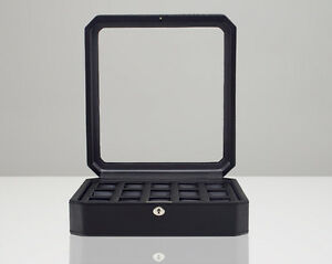 WOLF Windsor 15 Piece Black Leather Watch Box 4585029 + FREE US SHIPPING