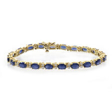 11.40 Carat Oval Shape Sapphire & Round Cut Diamond Tennis Bracelet 14k Yellow G