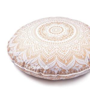 Indian White Gold Mandala Floor Pillow Meditation Round Cushion Cover Home Decor