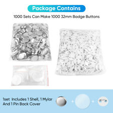 More details for 1000pcs 32mm badge blanks pin button badge components diy pressing kit reusable