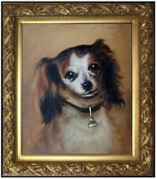 Framed Hand Painted Oil Painting, Repro Auguste Renoir Head of a dog 20x24in
