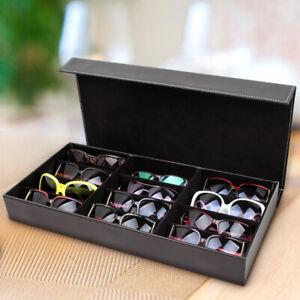 12 Slot PU Leather Sunglasses Box Glasses Grid Storage Organiser Display Case