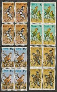 SWA MINT 1975 Birds of prey blocks of four set sg270-273 MNH
