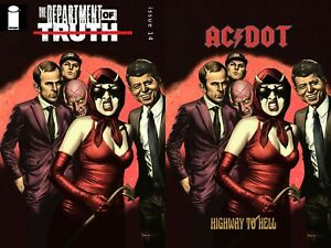 """DEPARTMENT OF TRUTH #14 MICO SUAYAN """"HIGHWAY TO HELL"""" VIRGIN/TRADE SET PRESALE"""