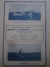 1925-26 PUB SIMB AVIONS BERNARD LA COURNEUVE AVION HYDRAVION CHASSE TOURISME AD