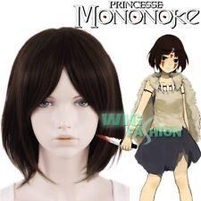 Princess Mononoke Hime San Short Dark Brown Heat Resistant Anime Cosplay Wig
