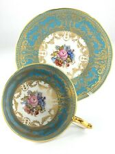 Vintage Turquoise Gold Accent Aynsley Bone Chine England Teacup and Saucer R173
