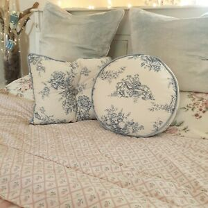 Pair Of Feather Scatter Cushions Toile De Jouy Blue White Double Sided Piped