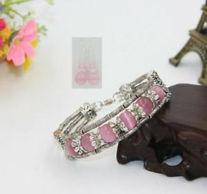 Tibetan Silver Bracelet Pink Opal Stone Woman Bracelet Earrings Set