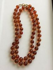 "JOAN RIVERS Faux Amber Plastic W Gold Pl Bead Necklace 34"" Excellent Condition"