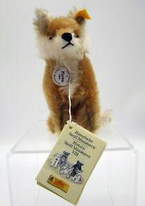 """Vtg Steiff Fox Fuchs Sitzend 033322 Mohair 14cm 6"""" Historic Miniatures with Tags"""