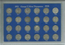 More details for king george v silver threepences 3d 1911-1936 threepence coin gift set in case