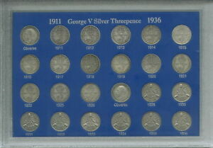 King George V Silver Threepences 3d 1911-1936 Threepence Coin Gift Set in Case