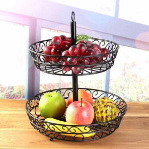 2 Tier Metal Wire Fruit Bowl Basket Storage Holder Stand Kitchen Vegetable Rack