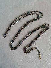 ++ Ancien sautoir collier chaîne porte montre ciseaux verre iridescent irisé ++