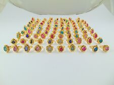 22K GOLD PLATED ROUGH SUGGAR DRUZY ALLOY RING 925 OVERLAY 100 PCS LOT JEWELRY