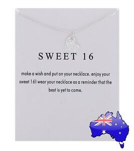 16th Birthday SWEET 16 Silver Dogeared Love Heart Wish Pendant Necklace Gift New