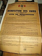 """AFFICHE """"REQUISITION DES CUIRS A LA MOBILISATION"""" 1928 MINISTERE GUERRE ARMEE"""