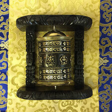 Tibetan Buddhist Brass PRAYER WHEEL Wall Hanging Wooden Frame LARGE