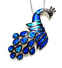 "Brilliant Blue Fire Opal LARGE 2 1/4"" PEACOCK Silver 925 Filled Pendant & Chain"
