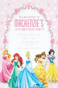 Personalised Disney Princess Birthday Party Invite Including Envelopes. D33
