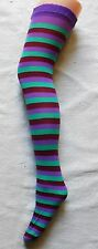 STRIPED PURPLE AND GREEN HOLD UP STOCKINGS ELF S/M