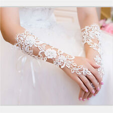 White Lace Floral Bride Fingerless Gloves For Wedding Party White ab