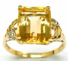 SYJEWELLERY 9CT YELLOW GOLD NATURAL CITRINE & DIAMOND RING   SIZE N    R1072