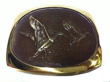 Vtg Solid Flying Bronze Duck Belt Buckle Bird Hunting Shooting Wings Western 70s