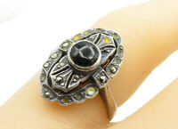 925 Sterling Silver - Vintage Black Onyx & Marcasite Band Ring Sz 6 - R13378