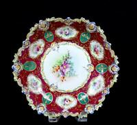 "ASIAN PORCELAIN ANTIQUE MAROON & GREEN FLORAL SCALLOPED RIM 10"" BOWL 1750-1850"