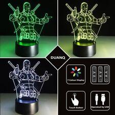 3D Deadpool Modèle Illusion Night Light 7 couleurs changement LED cadeau