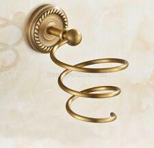 Antique Brass Wall Mounted Bathroom Hair Dryer Holder Rack