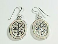 "SIGNED 925 STERLING SILVER TREE OF LIFE SYNTHETIC OPAL 1 3/8"" HOOK EARRINGS"