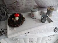 No3 39cm Tablett Schale Weihnachten Gesteck Teller weiß Holz shabby chic French