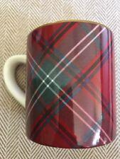 Williams Sonoma Red Green Cream Plaid Mug or Cup