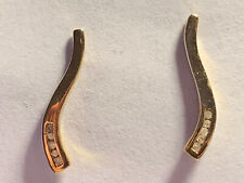 14k Yellow gold diamond modern drop line earrings