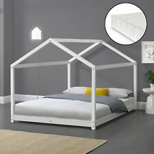 Kinderbett + Matratze 140x200cm Haus Holz Weiß Bettenhaus Hausbett Kinder Bett