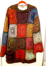 LUNiQUE Handmade crochet chunky Patchwork Jumper with pockets and gems M