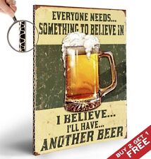 BELIEVE IN BEER RETRO VINTAGE A4 POSTER SIGN * RESTAURANT BAR PUB WALL ART DECOR
