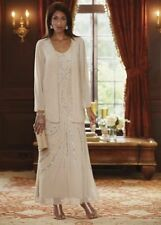 Ladies Midnight Velvet  Beaded Formal Long Swirl Jacket Dress Medium 179.00 NWT