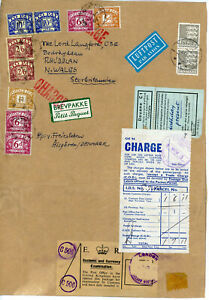 1965 Parcel front from Denmark to Wales with POSTAGE DUE franking of £1 7s 11d