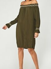 NEW OFF THE SHOULDER PLEATED  DRESS LONG TOP IN OLIVE   ONE SIZE   FITS SIZE 20